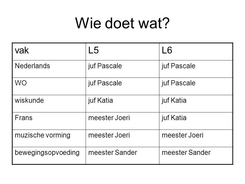 Wie doet wat? vakL5L6 Nederlandsjuf Pascale WOjuf Pascale wiskundejuf Katia Fransmeester Joerijuf Katia muzische vormingmeester Joeri bewegingsopvoedi
