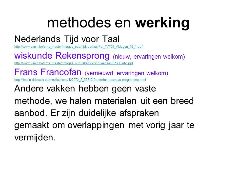 methodes en werking Nederlands Tijd voor Taal http://www.vanin.be/cms_master/images_sub/tijdvoortaal/Fol_TVT09_VIdagen_15_1.pdf wiskunde Rekensprong (