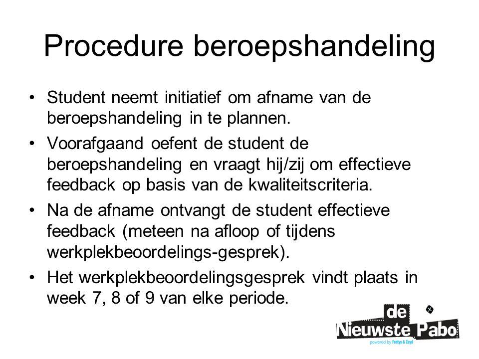 Procedure beroepshandeling Student neemt initiatief om afname van de beroepshandeling in te plannen.