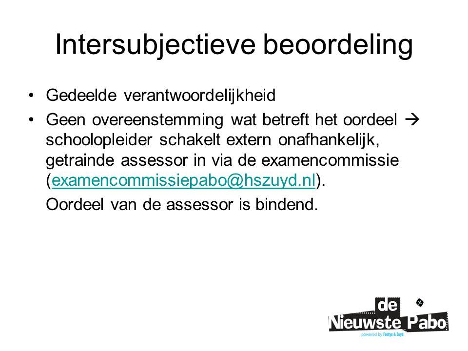 Intersubjectieve beoordeling Gedeelde verantwoordelijkheid Geen overeenstemming wat betreft het oordeel  schoolopleider schakelt extern onafhankelijk