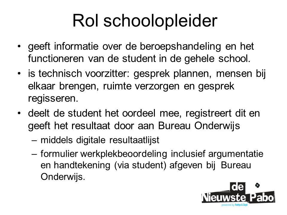 Rol schoolopleider geeft informatie over de beroepshandeling en het functioneren van de student in de gehele school.