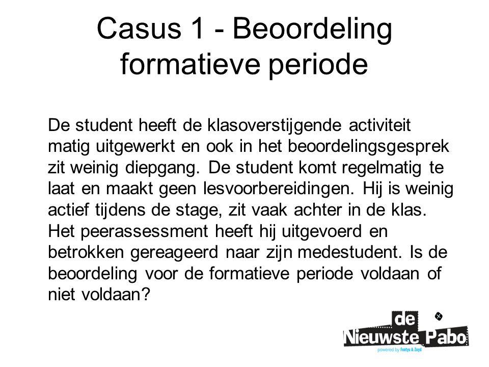 Casus 1 - Beoordeling formatieve periode De student heeft de klasoverstijgende activiteit matig uitgewerkt en ook in het beoordelingsgesprek zit weinig diepgang.