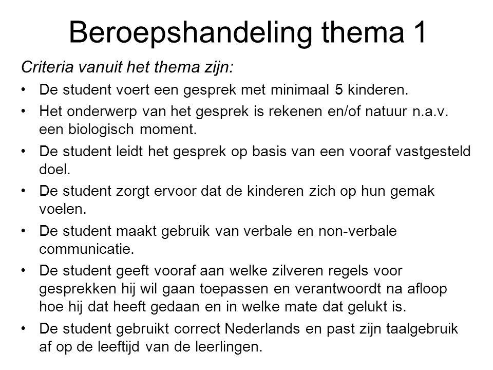 Beroepshandeling thema 1 Criteria vanuit het thema zijn: De student voert een gesprek met minimaal 5 kinderen. Het onderwerp van het gesprek is rekene