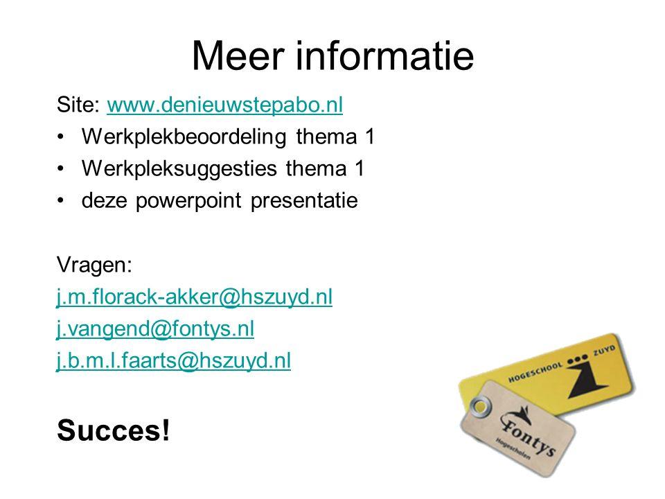 Meer informatie Site: www.denieuwstepabo.nlwww.denieuwstepabo.nl Werkplekbeoordeling thema 1 Werkpleksuggesties thema 1 deze powerpoint presentatie Vr