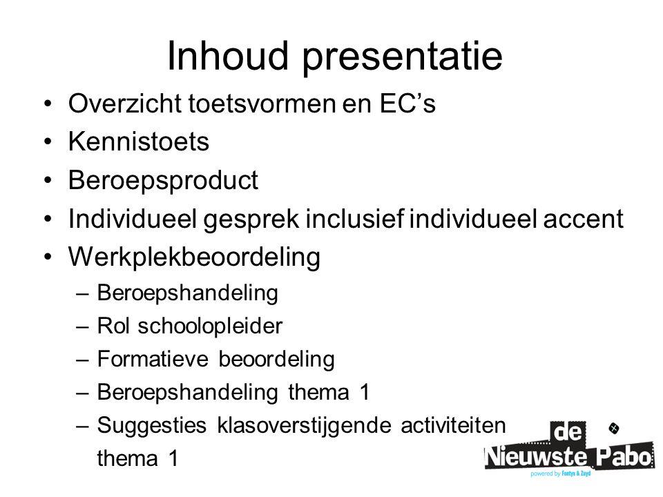 Overzicht toetsvormen 15 EC's per periode  - Kennistoets4 EC's - Beroepsproduct3 EC's - Individueel gesprek (inclusief individueel accent) 2 EC's - Werkplekbeoordeling (inclusief beroepshandeling)6 EC's