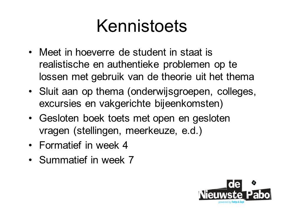 Kennistoets Meet in hoeverre de student in staat is realistische en authentieke problemen op te lossen met gebruik van de theorie uit het thema Sluit