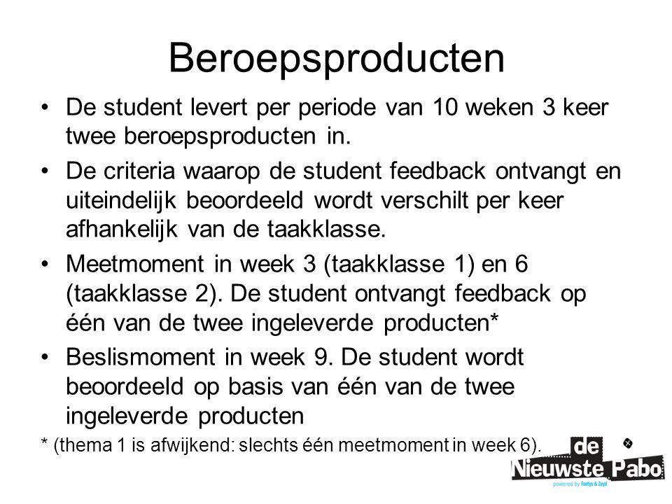 Beroepsproducten De student levert per periode van 10 weken 3 keer twee beroepsproducten in. De criteria waarop de student feedback ontvangt en uitein