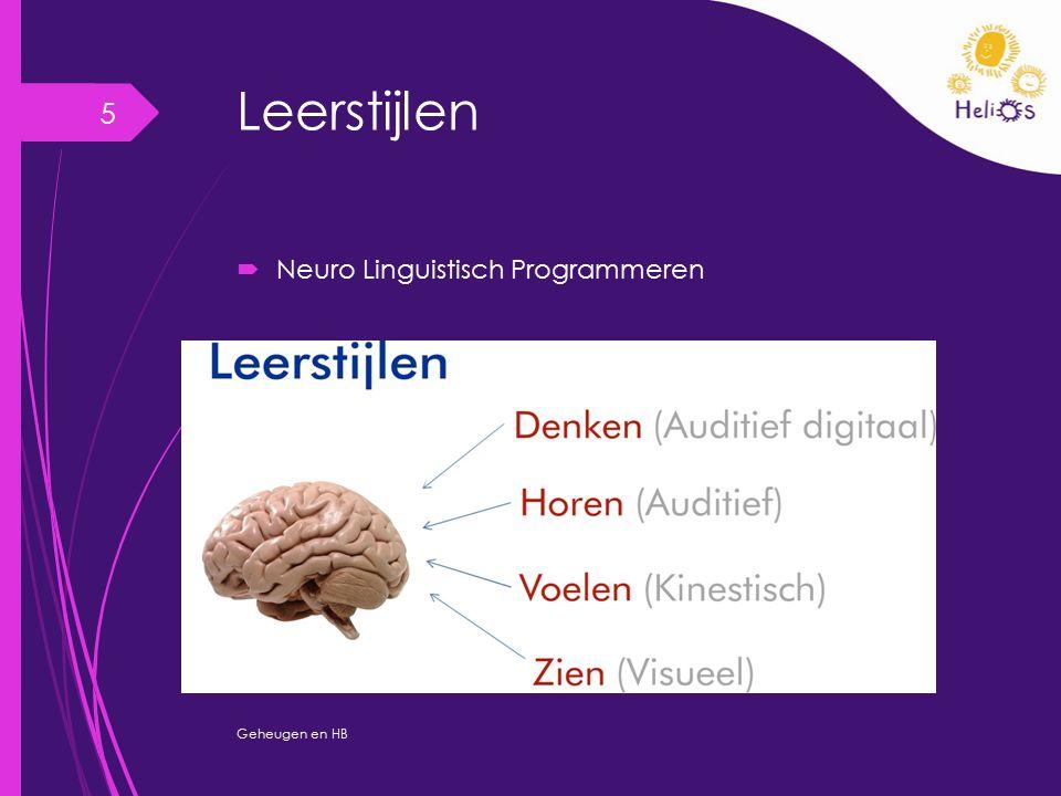 Leerstijlen  Meervoudige Intelligentiemodel Gardner Geheugen en HB 6