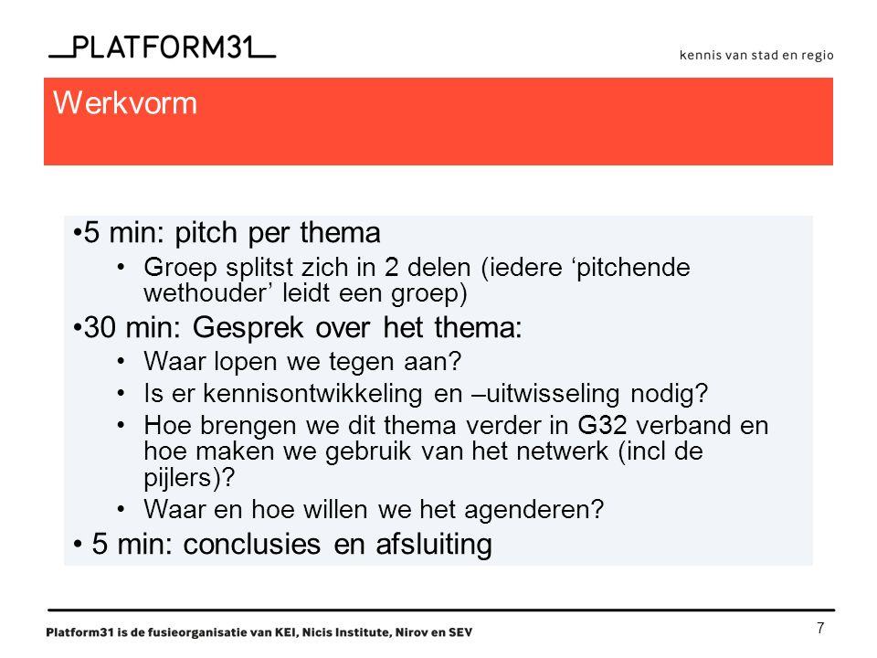 7 Werkvorm 5 min: pitch per thema Groep splitst zich in 2 delen (iedere 'pitchende wethouder' leidt een groep) 30 min: Gesprek over het thema: Waar lopen we tegen aan.