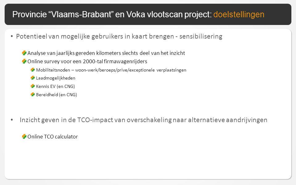 Potentieel van mogelijke gebruikers in kaart brengen - sensibilisering Analyse van jaarlijks gereden kilometers slechts deel van het inzicht Online survey voor een 2000-tal firmawagenrijders Mobiliteitsnoden – woon-werk/beroeps/prive/exceptionele verplaatsingen Laadmogelijkheden Kennis EV (en CNG) Bereidheid (en CNG) Inzicht geven in de TCO-impact van overschakeling naar alternatieve aandrijvingen Online TCO calculator Provincie Vlaams-Brabant en Voka vlootscan project: doelstellingen