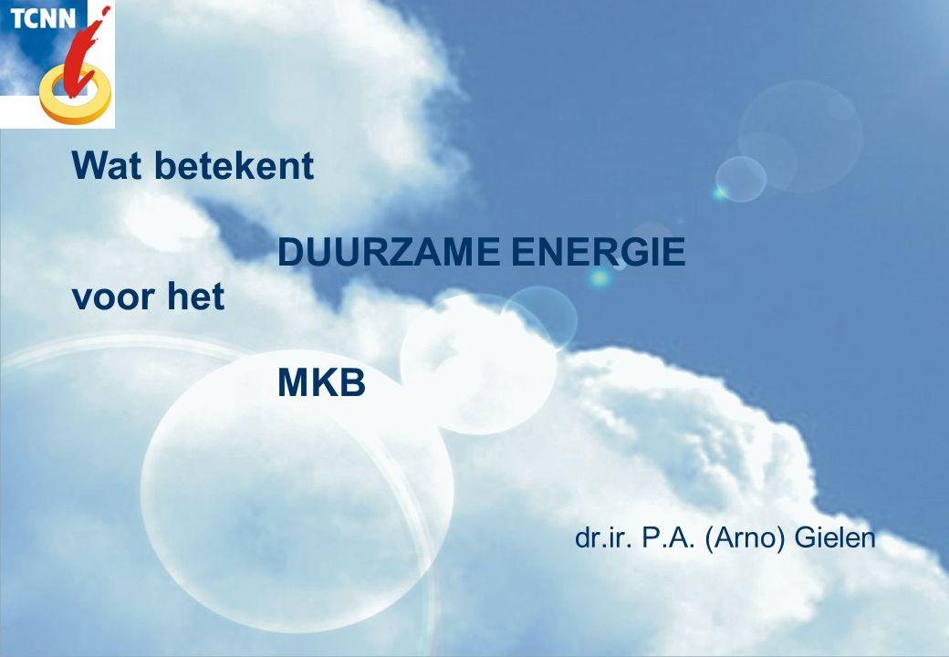 Wat betekent DUURZAME ENERGIE voor het MKB dr.ir. P.A. (Arno) Gielen
