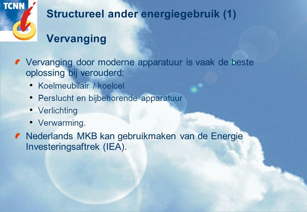 Structureel ander energiegebruik (1) Vervanging Vervanging door moderne apparatuur is vaak de beste oplossing bij verouderd: Koelmeubilair / koelcel Perslucht en bijbehorende apparatuur Verlichting Verwarming.