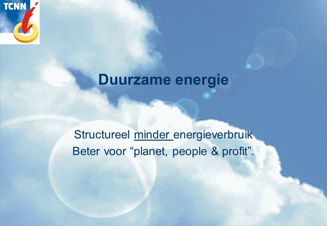 Duurzame energie Structureel ander energiegebruik ander gebruik andere bronnen beter voor planet, people & profit .