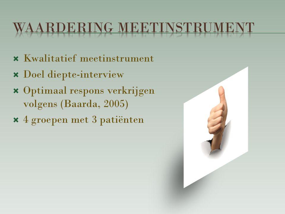  Kwalitatief meetinstrument  Doel diepte-interview  Optimaal respons verkrijgen volgens (Baarda, 2005)  4 groepen met 3 patiënten