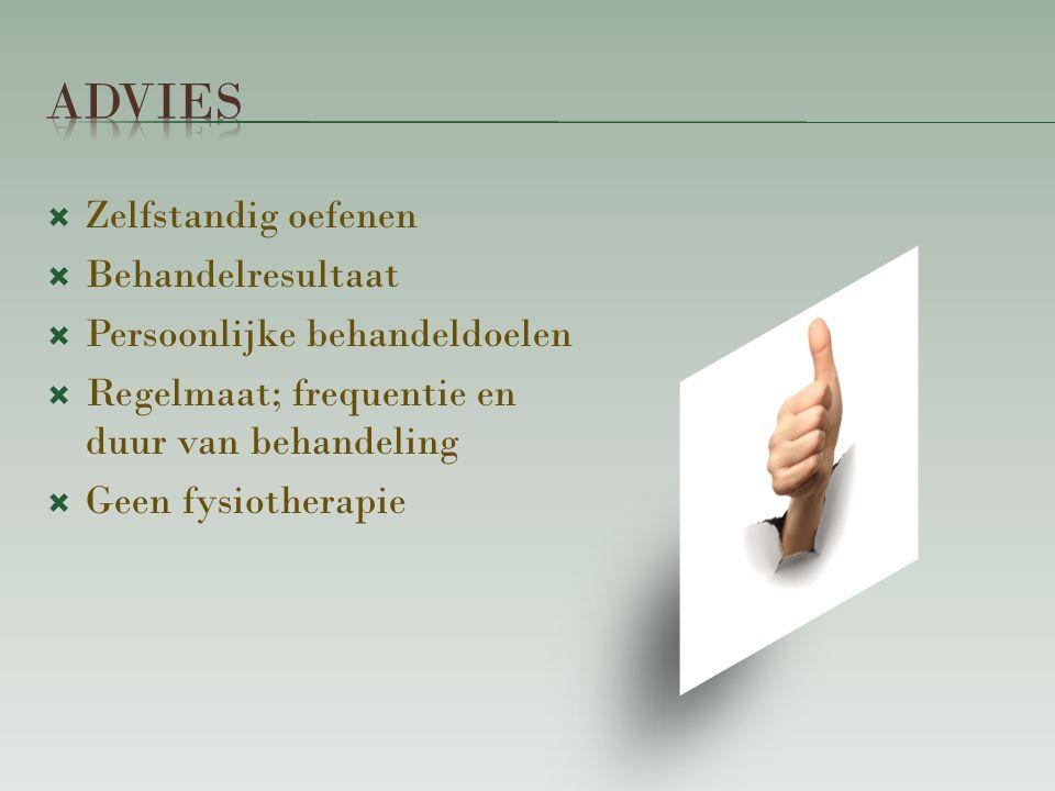  Zelfstandig oefenen  Behandelresultaat  Persoonlijke behandeldoelen  Regelmaat; frequentie en duur van behandeling  Geen fysiotherapie