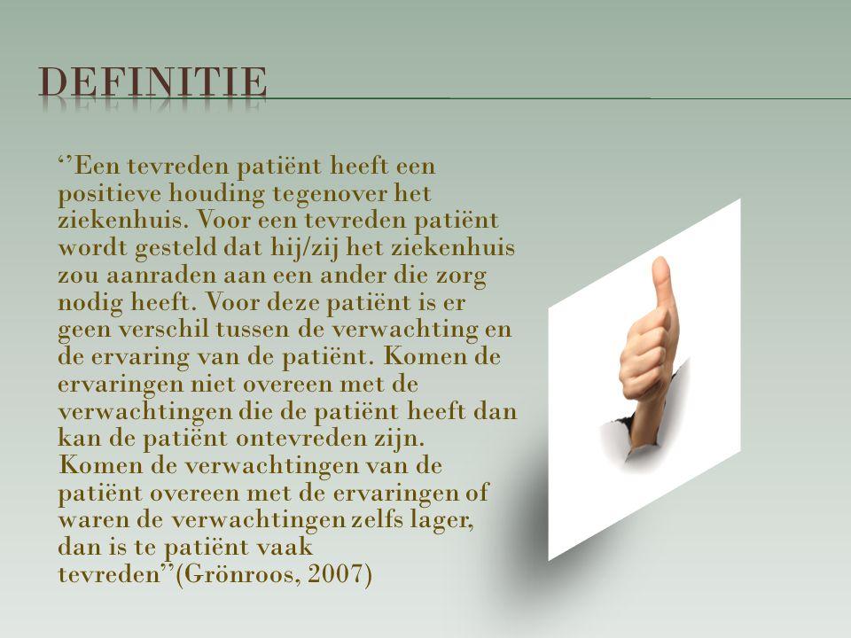 ''Een tevreden patiënt heeft een positieve houding tegenover het ziekenhuis.