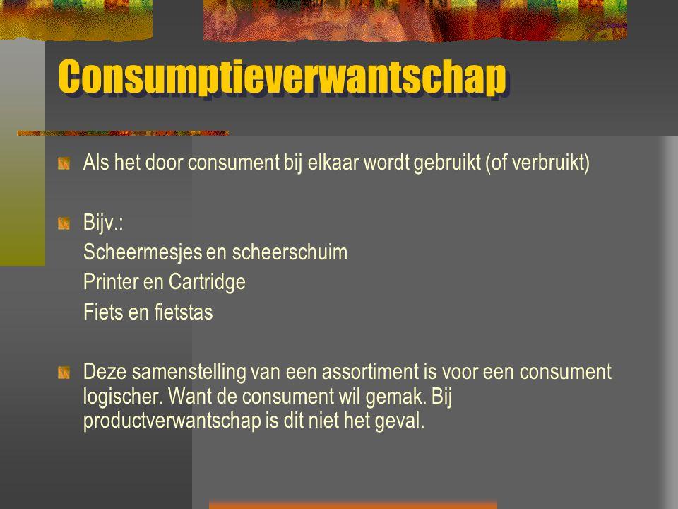 Consumptieverwantschap Als het door consument bij elkaar wordt gebruikt (of verbruikt) Bijv.: Scheermesjes en scheerschuim Printer en Cartridge Fiets