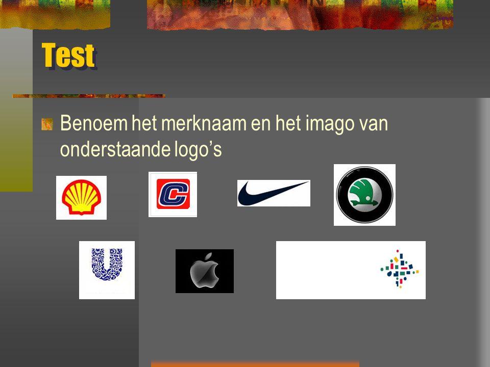 Test Benoem het merknaam en het imago van onderstaande logo's
