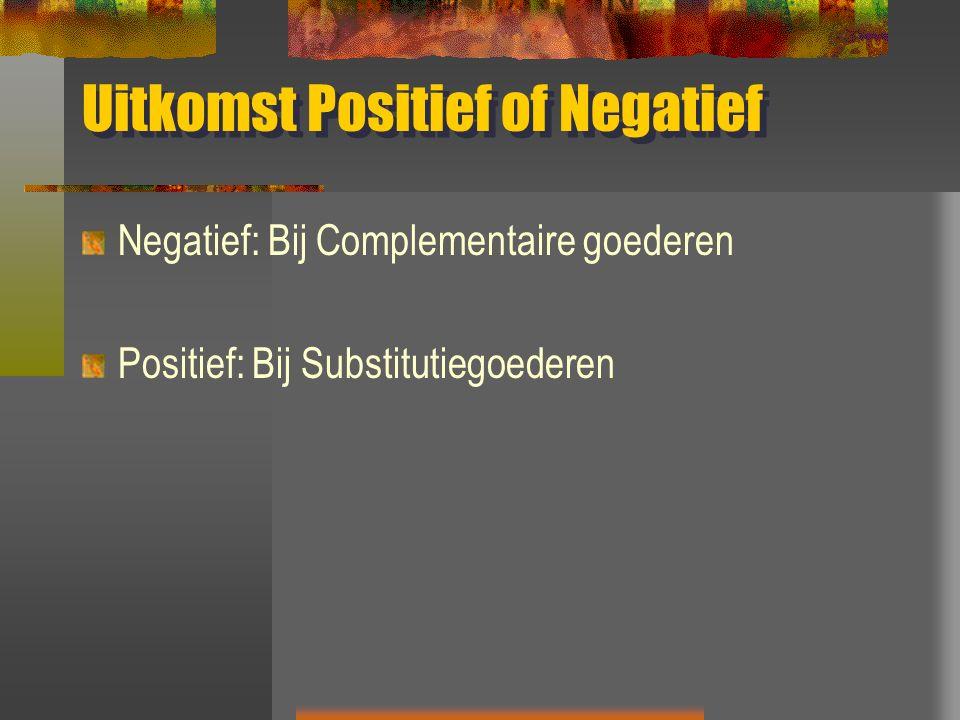 Uitkomst Positief of Negatief Negatief: Bij Complementaire goederen Positief: Bij Substitutiegoederen