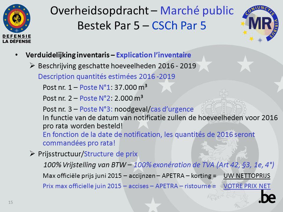 Verduidelijking inventaris – Explication l'inventaire  Beschrijving geschatte hoeveelheden 2016 - 2019 Description quantités estimées 2016 -2019 Post nr.