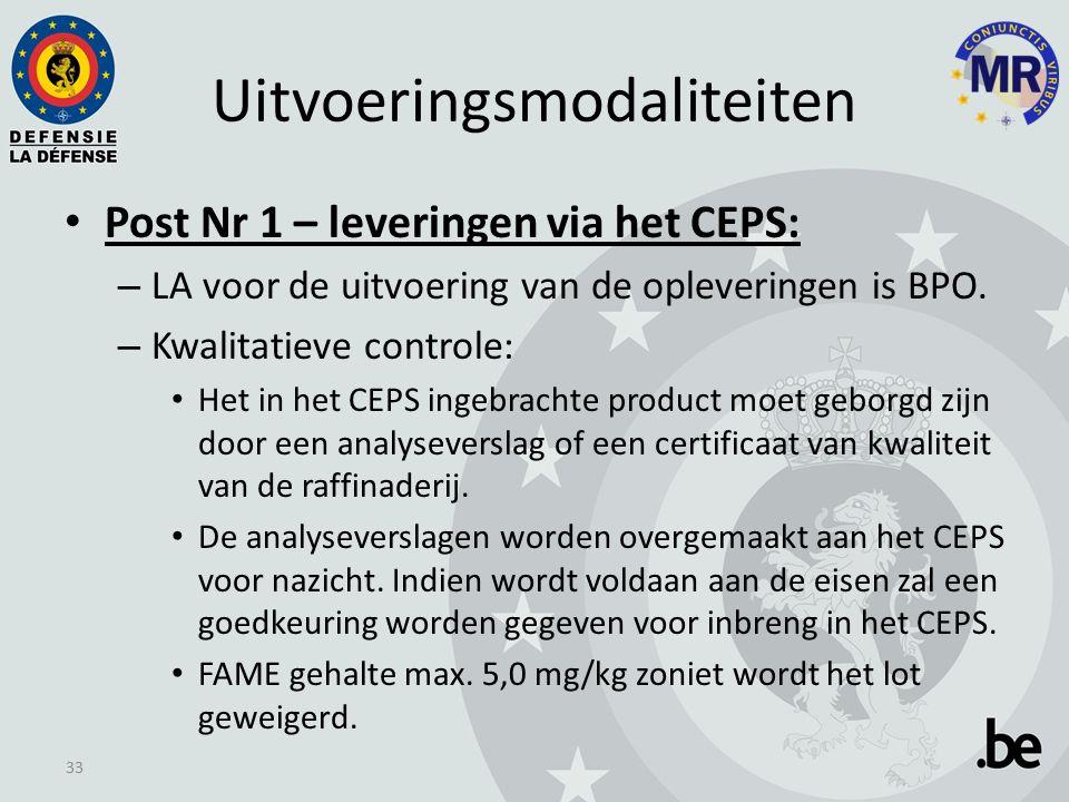 Uitvoeringsmodaliteiten Post Nr 1 – leveringen via het CEPS: – LA voor de uitvoering van de opleveringen is BPO.