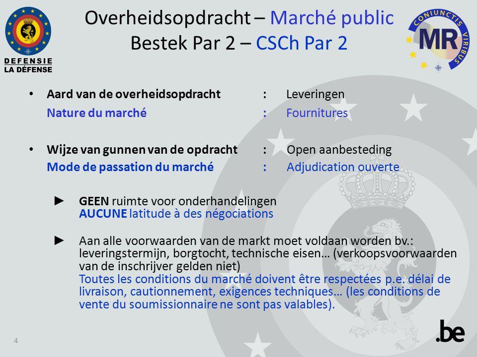 Overheidsopdracht tegen prijslijst – Marché public à bordereau de prix – Post nr.