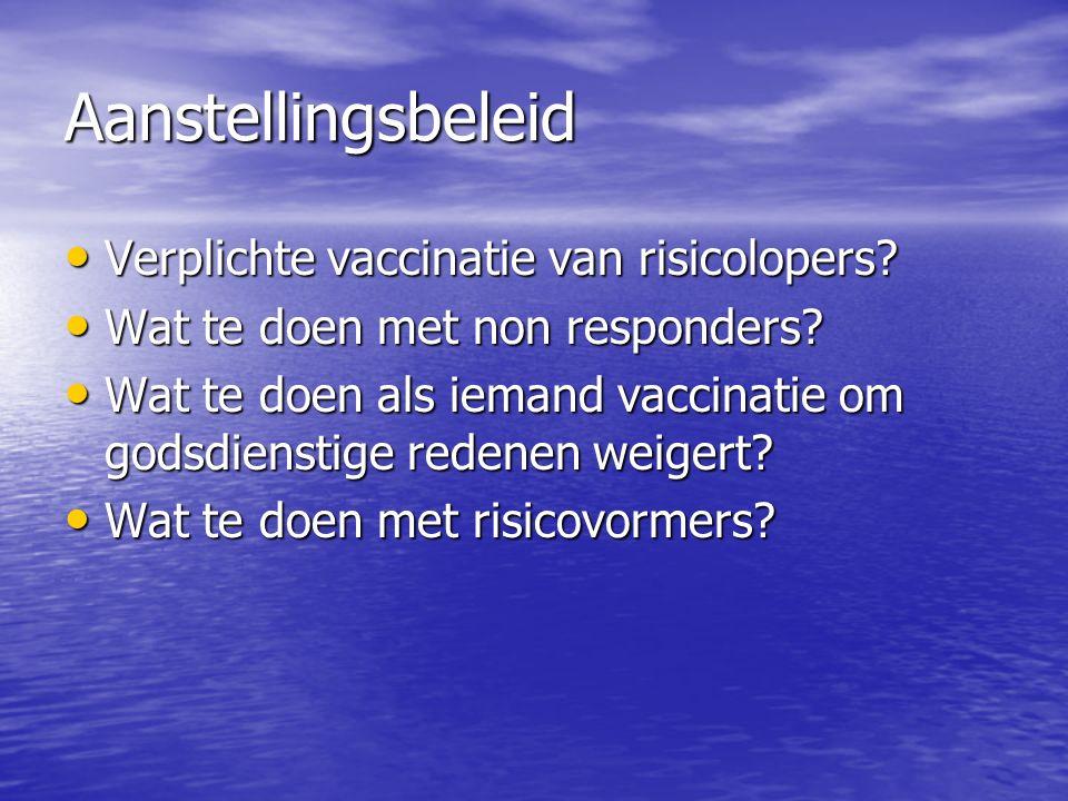 Aanstellingsbeleid Verplichte vaccinatie van risicolopers.
