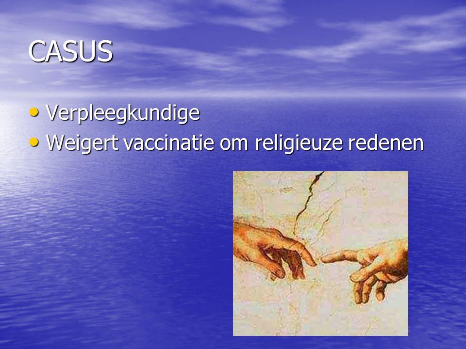 CASUS Verpleegkundige Verpleegkundige Weigert vaccinatie om religieuze redenen Weigert vaccinatie om religieuze redenen