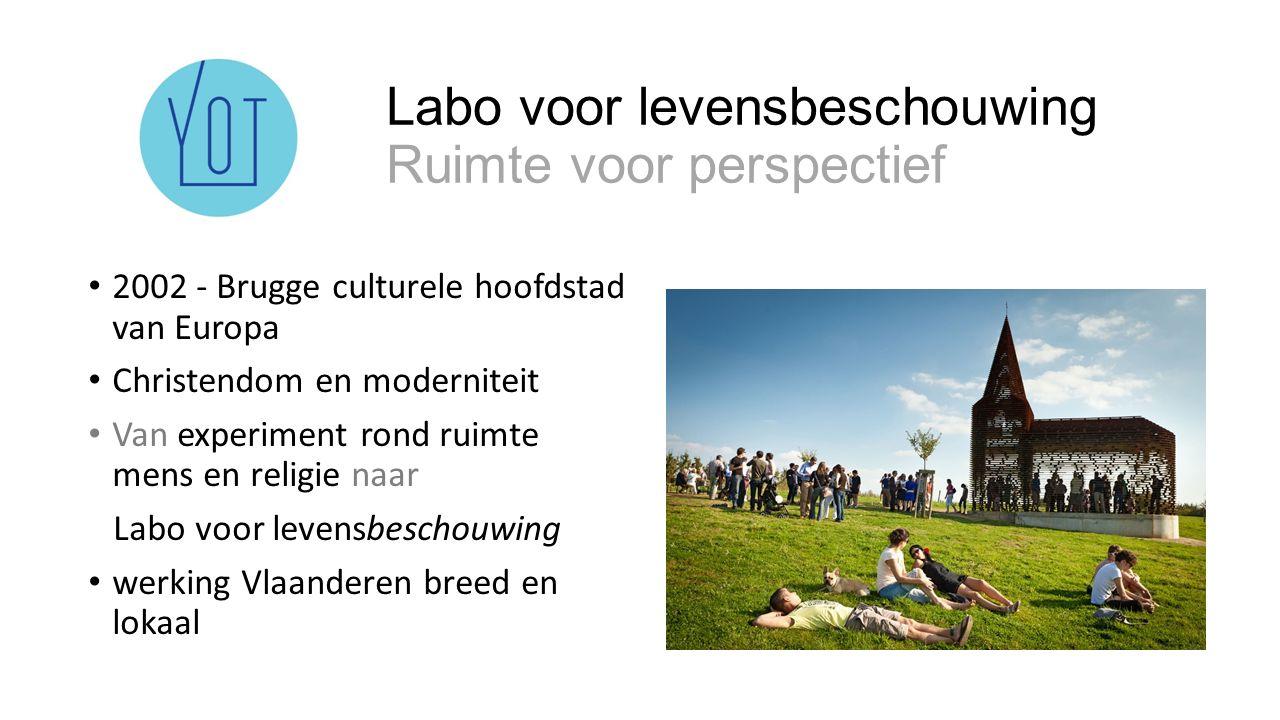 Labo voor levensbeschouwing Ruimte voor perspectief 2002 - Brugge culturele hoofdstad van Europa Christendom en moderniteit Van experiment rond ruimte