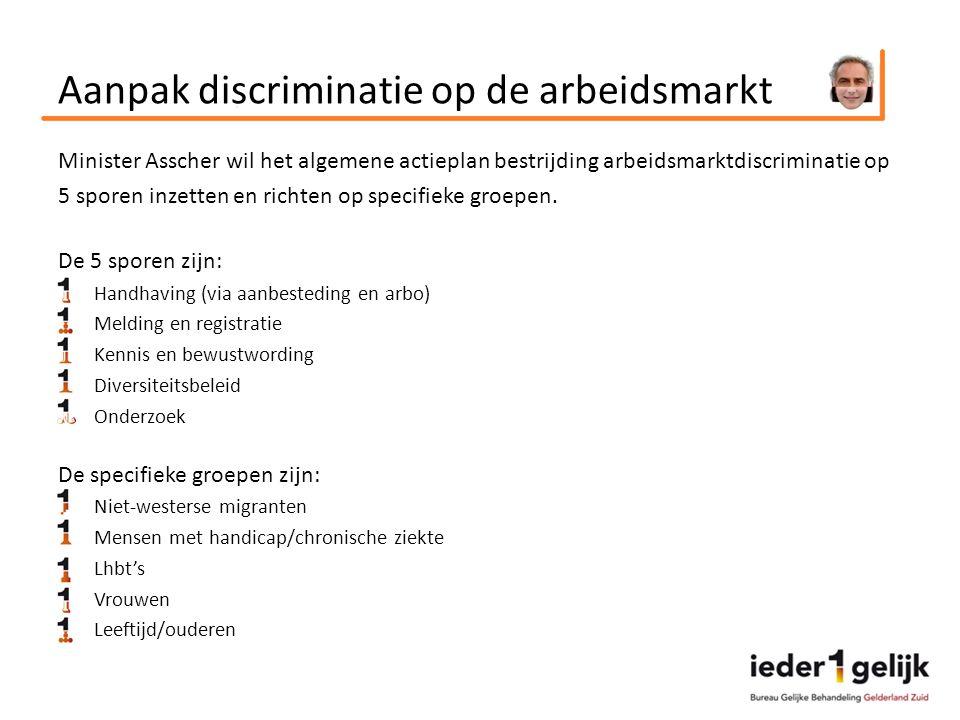 Aanpak discriminatie op de arbeidsmarkt Minister Asscher wil het algemene actieplan bestrijding arbeidsmarktdiscriminatie op 5 sporen inzetten en richten op specifieke groepen.