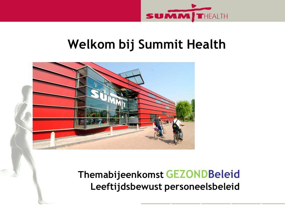 Welkom bij Summit Health Themabijeenkomst GEZONDBeleid Leeftijdsbewust personeelsbeleid