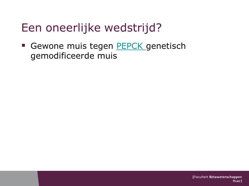 Een oneerlijke wedstrijd  Gewone muis tegen PEPCK genetisch gemodificeerde muisPEPCK