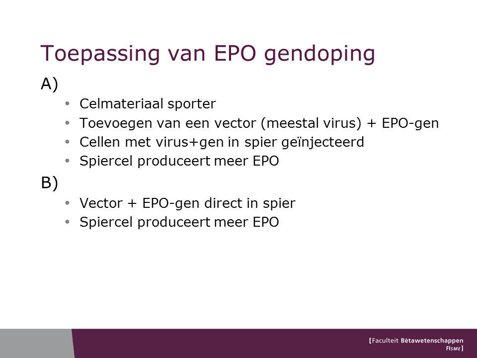 Toepassing van EPO gendoping A) Celmateriaal sporter Toevoegen van een vector (meestal virus) + EPO-gen Cellen met virus+gen in spier geïnjecteerd Spiercel produceert meer EPO B) Vector + EPO-gen direct in spier Spiercel produceert meer EPO