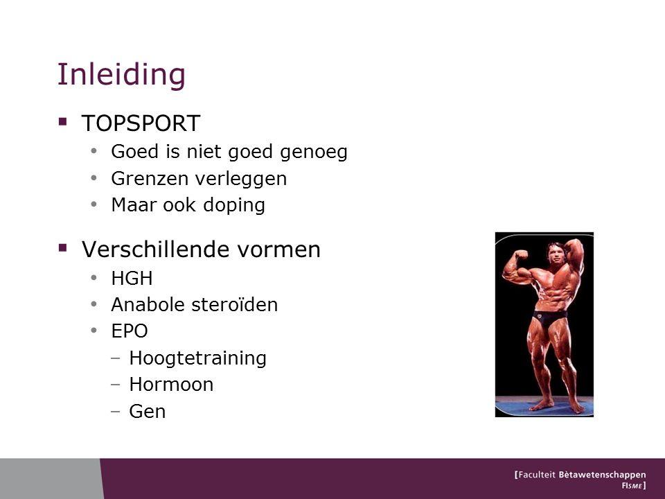 Inleiding  TOPSPORT Goed is niet goed genoeg Grenzen verleggen Maar ook doping  Verschillende vormen HGH Anabole steroïden EPO –Hoogtetraining –Hormoon –Gen