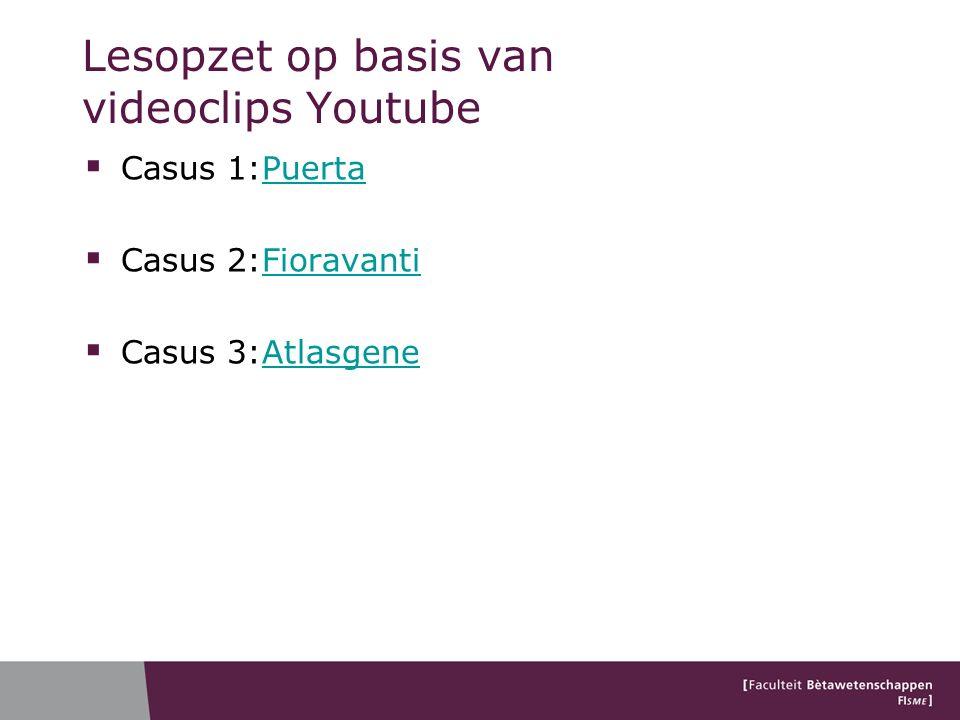 Lesopzet op basis van videoclips Youtube  Casus 1:PuertaPuerta  Casus 2:FioravantiFioravanti  Casus 3:AtlasgeneAtlasgene