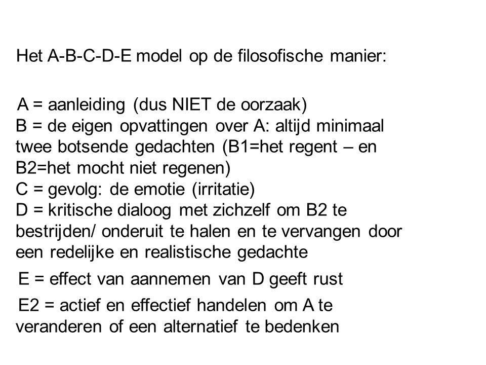 Het A-B-C-D-E model op de filosofische manier: A = aanleiding (dus NIET de oorzaak) B = de eigen opvattingen over A: altijd minimaal twee botsende ged