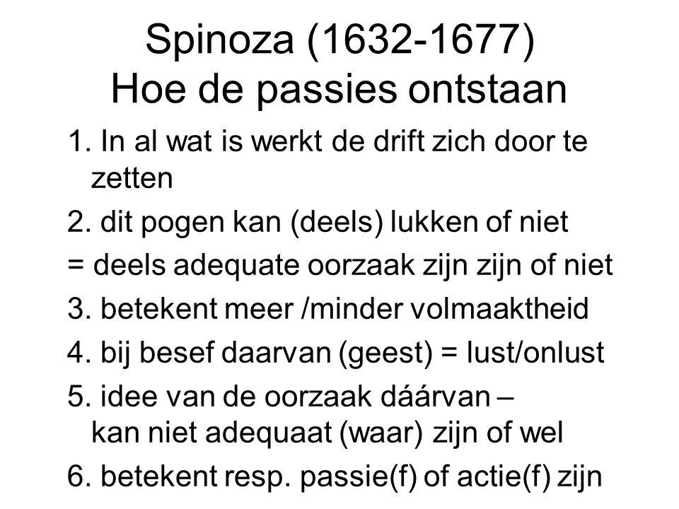 Spinoza (1632-1677) Hoe de passies ontstaan 1. In al wat is werkt de drift zich door te zetten 2. dit pogen kan (deels) lukken of niet = deels adequat