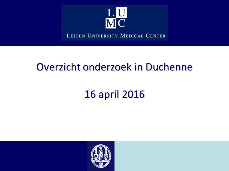 Overzicht onderzoek in Duchenne 16 april 2016