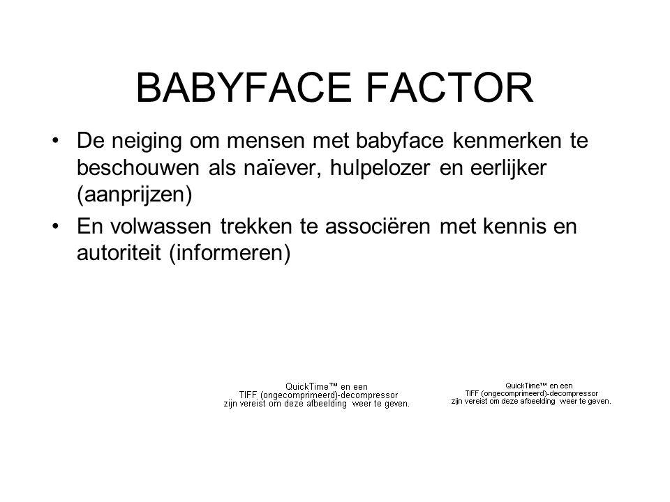 BABYFACE FACTOR De neiging om mensen met babyface kenmerken te beschouwen als naïever, hulpelozer en eerlijker (aanprijzen) En volwassen trekken te associëren met kennis en autoriteit (informeren)