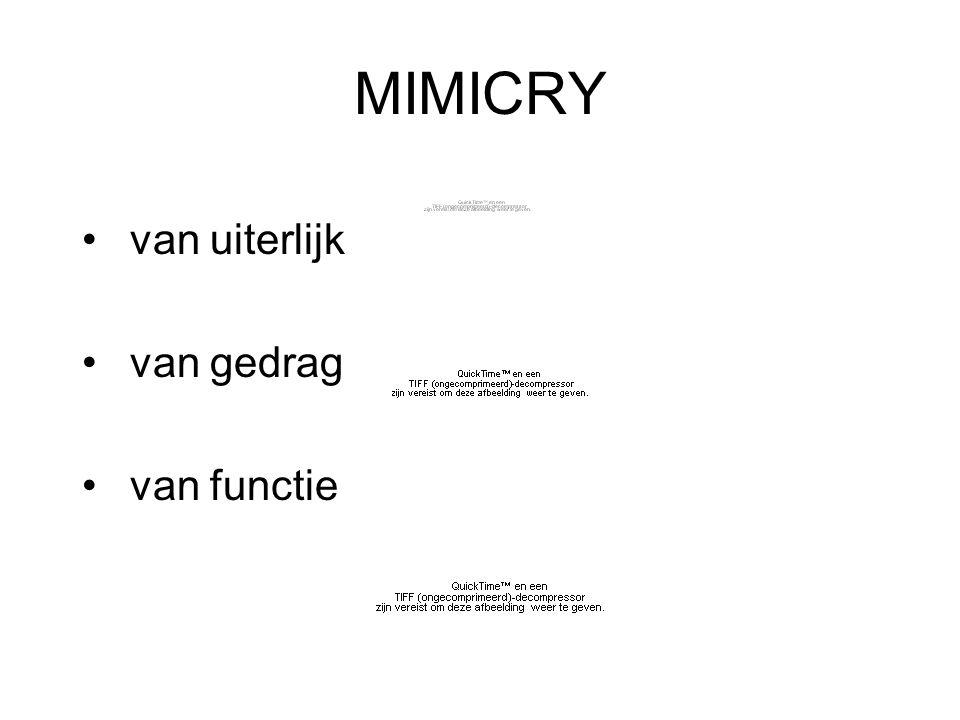 MIMICRY van uiterlijk van gedrag van functie
