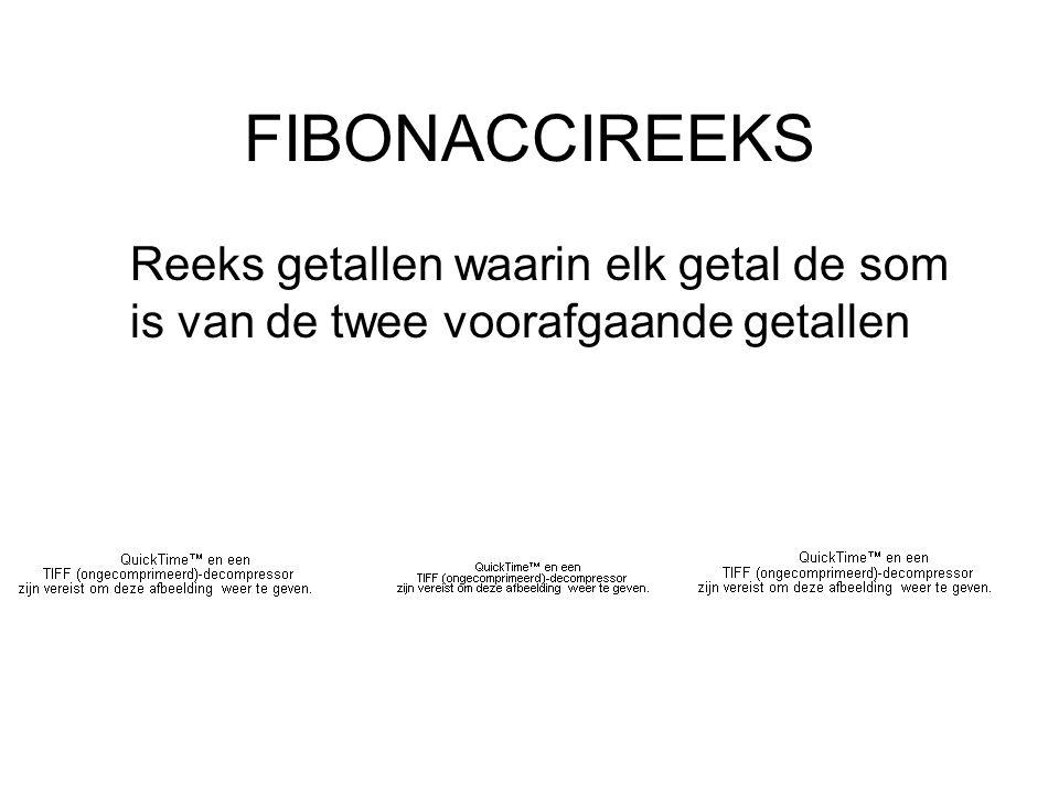 FIBONACCIREEKS Reeks getallen waarin elk getal de som is van de twee voorafgaande getallen