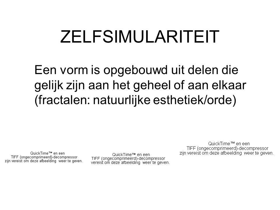 ZELFSIMULARITEIT Een vorm is opgebouwd uit delen die gelijk zijn aan het geheel of aan elkaar (fractalen: natuurlijke esthetiek/orde)