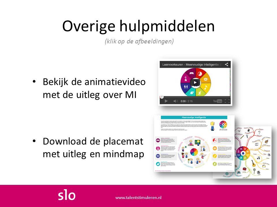 Overige hulpmiddelen Bekijk de animatievideo met de uitleg over MI Download de placemat met uitleg en mindmap (klik op de afbeeldingen) www.talentstim