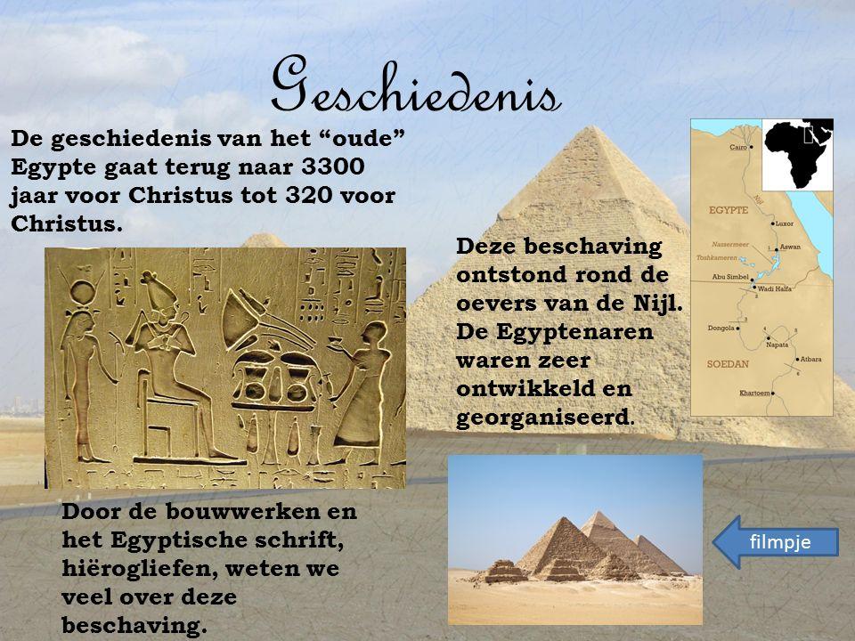 Geschiedenis De geschiedenis van het oude Egypte gaat terug naar 3300 jaar voor Christus tot 320 voor Christus.