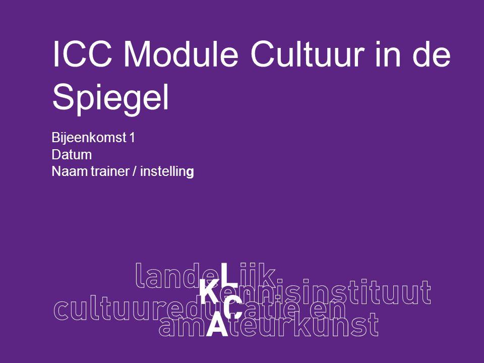 ICC Module Cultuur in de Spiegel Bijeenkomst 1 Datum Naam trainer / instelling
