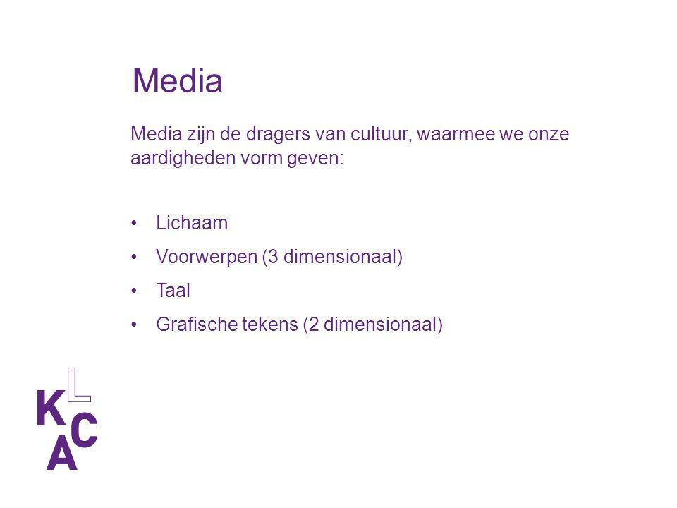 Media Media zijn de dragers van cultuur, waarmee we onze aardigheden vorm geven: Lichaam Voorwerpen (3 dimensionaal) Taal Grafische tekens (2 dimensionaal)