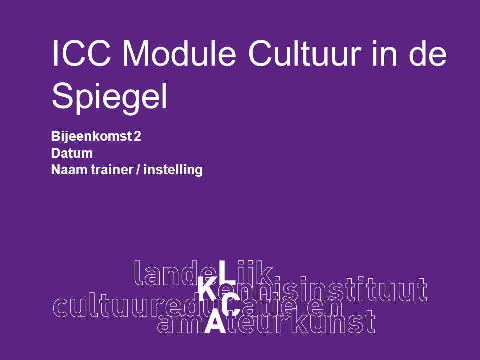 ICC Module Cultuur in de Spiegel Bijeenkomst 2 Datum Naam trainer / instelling