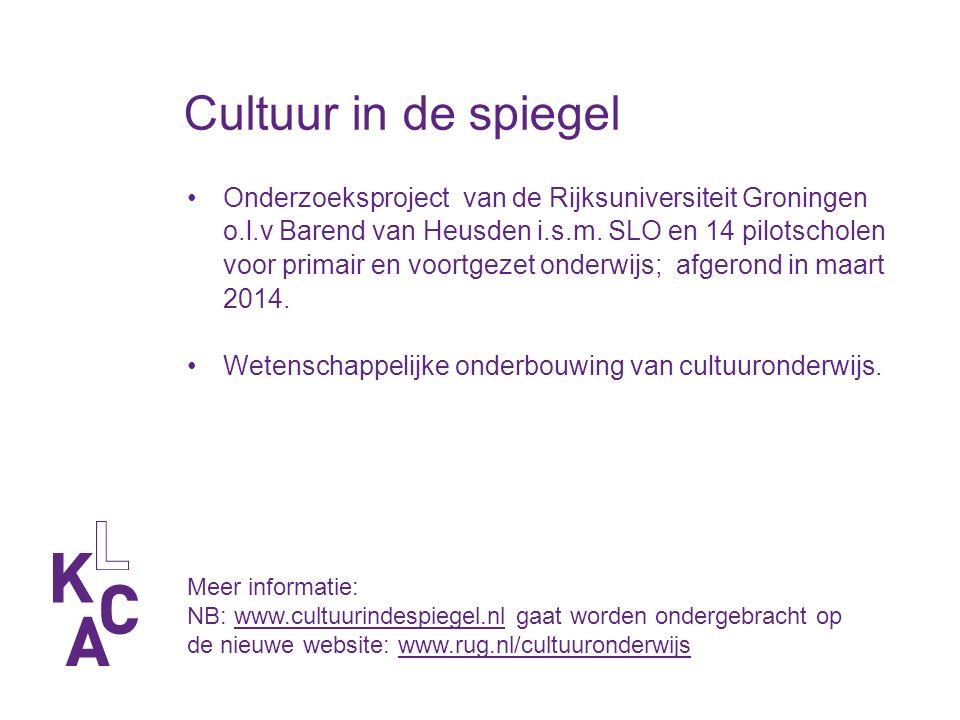 Cultuur in de spiegel Onderzoeksproject van de Rijksuniversiteit Groningen o.l.v Barend van Heusden i.s.m.