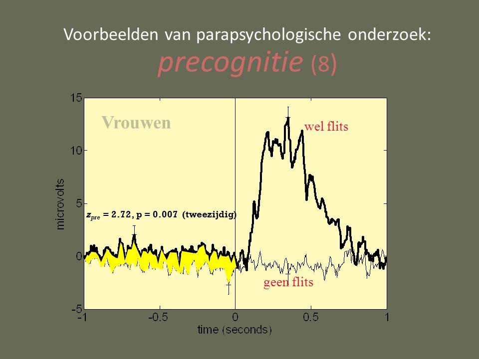 Voorbeelden van parapsychologische onderzoek: precognitie (8 ) wel flits geen flits z pre = 2.72, p = 0.007 (tweezijdig) Vrouwen