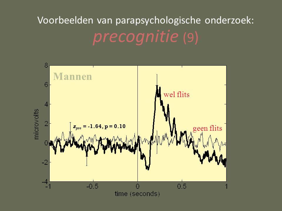 Voorbeelden van parapsychologische onderzoek: precognitie (9 ) wel flits geen flits z pre = -1.64, p = 0.10 Mannen